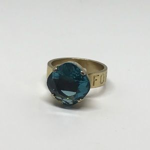 Gold plate silver teal Forget me not cocktail ring